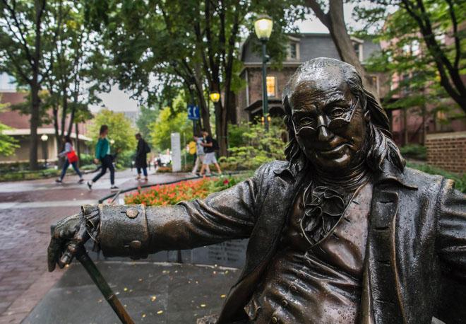 Statue af Benjamin Franklin